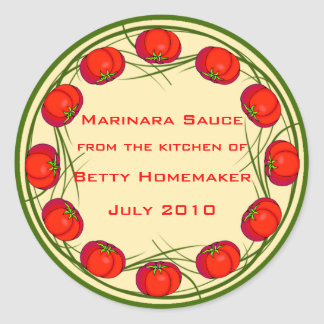 Tomato Sauce or Marinara Sauce Labels Classic Round Sticker