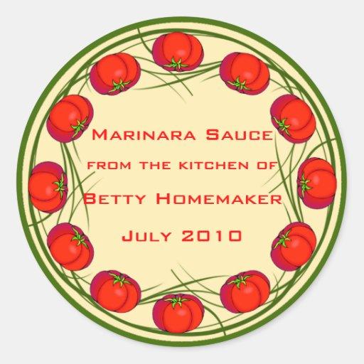 Tomato Sauce or Marinara Sauce Labels Round Stickers