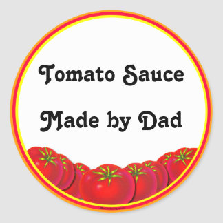 Tomato Sauce Personalizable Custom Canning Labels Classic Round Sticker