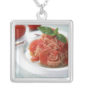 Tomato Spaghetti Silver Plated Necklace