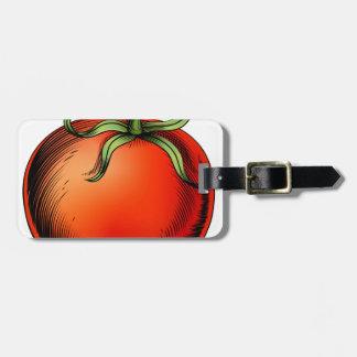 Tomato vintage woodcut illustration tag for luggage