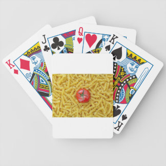 Tomato with fusilli pasta bicycle playing cards