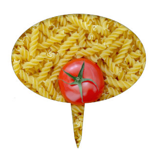 Tomato with fusilli pasta cake topper