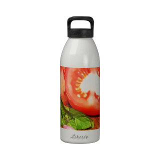 tomato with stuffed olives and garlic water bottle