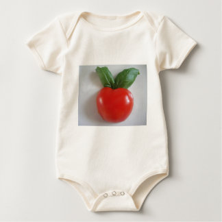 Tomato with two basil sheets baby bodysuit