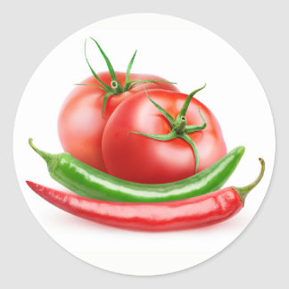 Tomatoes and chilies classic round sticker