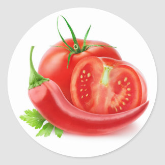 Tomatoes and pepper classic round sticker