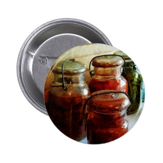 Tomatoes and String Beans in Canning Jars Buttons