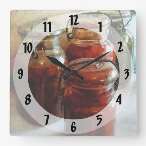 Tomatoes and String Beans in Canning Jars Clocks