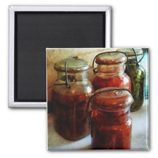Tomatoes and String Beans in Canning Jars Fridge Magnets