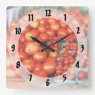 Tomatoes For Sale Square Wall Clock