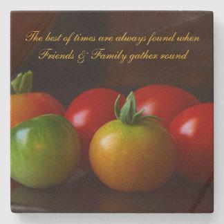 Tomatoes Friends & Family Quote Stone Cork Coaster Stone Coaster