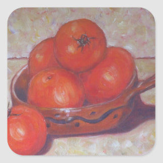 Tomatoes in a Dish Square Sticker