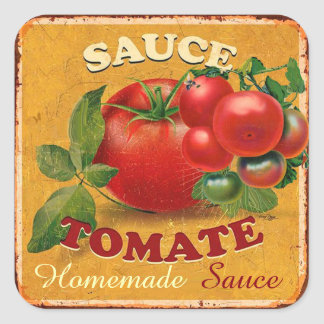 TOMATOES KITCHEN PRESERVES ,CANNINGS ,TOMATO SAUCE SQUARE STICKER