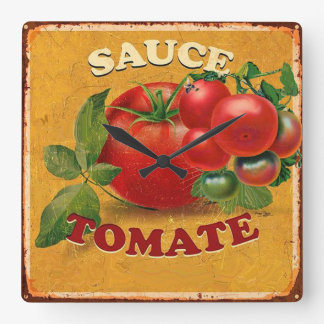 TOMATOES KITCHEN PRESERVES ,CANNINGS ,TOMATO SAUCE SQUARE WALL CLOCK