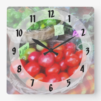 Tomatoes, String Beans and Peppers at Farmer's Mar Square Wall Clock