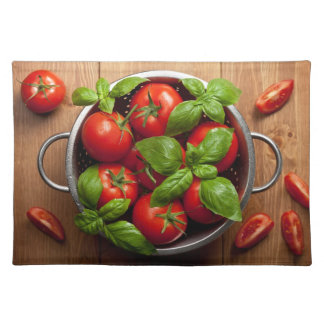 Tomatoes With Basil In Colander Place Mats