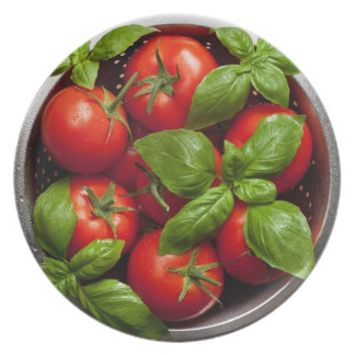 Tomatoes With Basil In Colander Party Plates