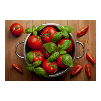 Tomatoes With Basil In Colander Poster