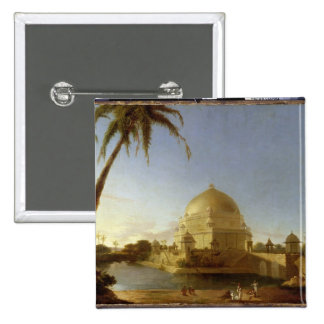Tomb of Sher Shah, Sasaram, Bihar, c.1790 (oil on 2 Inch Square Button