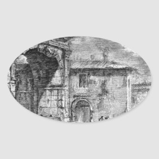 Tomb of the three brothers in Albano Curiatii Oval Sticker
