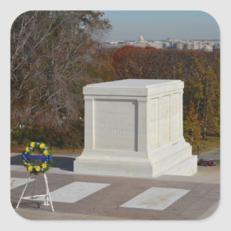 Tomb of the Unknown Soldier, Arlington Yellow Wrea Square Sticker