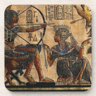 Tomb Painting on Papyrus Beverage Coasters