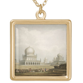 Tombs of the Kings of Golconda in 1813, from Volum Gold Plated Necklace
