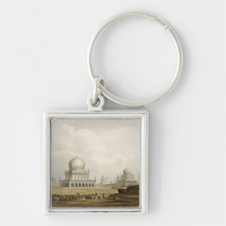 Tombs of the Kings of Golconda in 1813, from Volum Silver-Colored Square Keychain