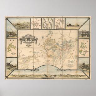 Tombstone Arizona Mining District Map Art Print
