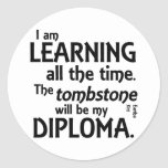 Tombstone Diploma Round Stickers