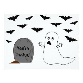 Tombstone, Ghost & Bats - Halloween Card