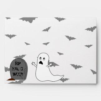 Tombstone, Ghost & Bats - Halloween Envelope