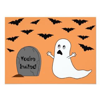 Tombstone, Ghost & Bats (Orange Background) Card