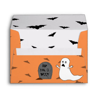 Tombstone, Ghost & Bats (Orange Background) Envelope