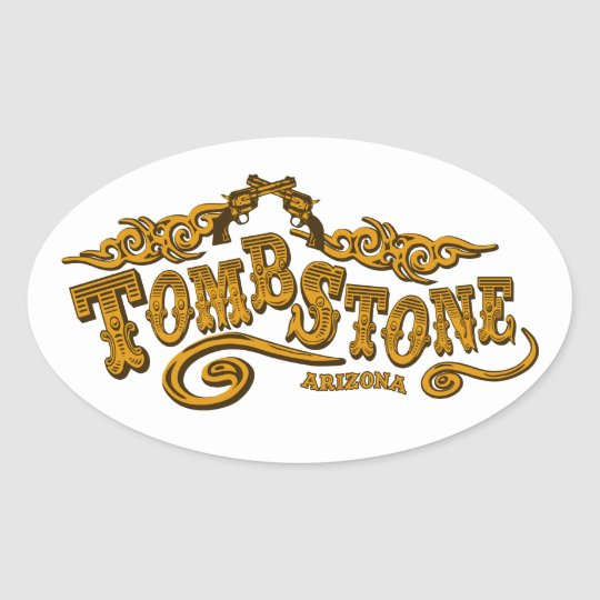 Tombstone Saloon Oval Sticker