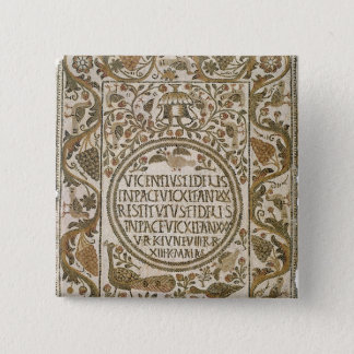 Tombstone with an epitaph pinback button