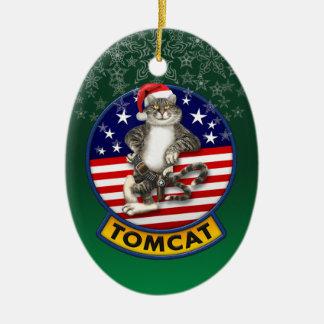 Tomcat Mascot Christmas Ceramic Ornament