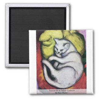 Tomcat On A Yellow Cushion By Marc Franz Fridge Magnet