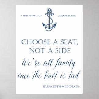 """Tome a asiento no"" una muestra náutica lateral Póster"