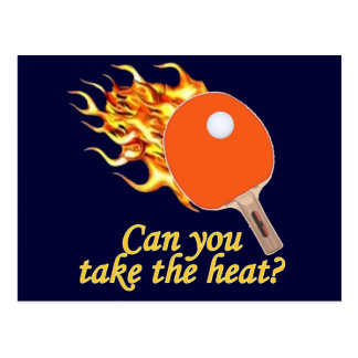 Tome a calor el ping-pong llameante tarjeta postal