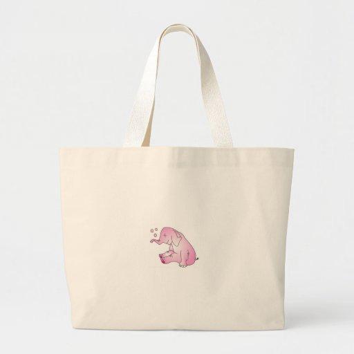 Tome a cuidado el elefante rosado bolsas de mano