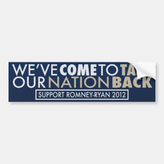 Tome a nuestra parte posterior Romney-Ryan de la n Etiqueta De Parachoque