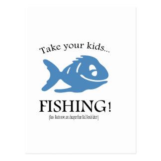 ¡Tome a sus niños la pesca! Postal
