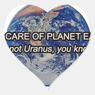 ¡Tome el cuidado de la tierra del planeta! No es Pegatina Corazón