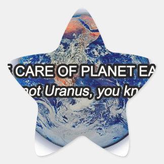 ¡Tome el cuidado de la tierra del planeta! Calcomanías Forma De Estrella Personalizadas