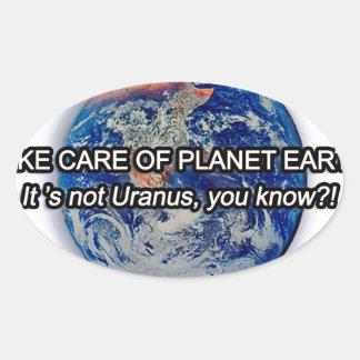 ¡Tome el cuidado de la tierra del planeta! Pegatina De Oval Personalizadas