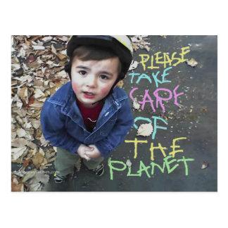 Tome el cuidado de la tierra tarjetas postales