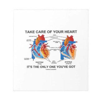 Tome el cuidado de su corazón que es solamente uno bloc de notas