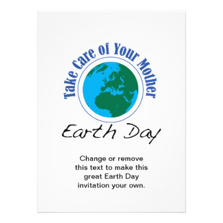 Tome el cuidado de su día de madre tierra invitacion personalizada